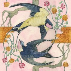 swallows repating  watercolor by Daniel Mackie