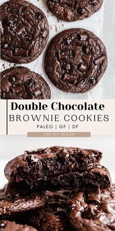 Healthy Vegan Desserts, Healthy Cookie Recipes, Healthy Chocolate, Brownie Recipes, Chocolate Recipes, Dessert Recipes, Chocolate Brownie Cookie Recipe, Double Chocolate Brownies, Chocolate Chunk Cookies