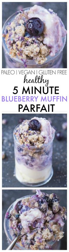 Healthy 5 Minute Grain Free Blueberry Muffin Parfait- A delicious 1 minute muffin layered between a dairy free yogurt and SO easy and healthy! {vegan, gluten free, paleo recipe}- thebigmansworld.com