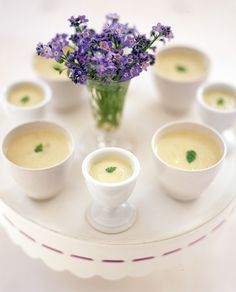 Potato leek soup can be served hot or room-temperature in sipping cups so no spoons are required.