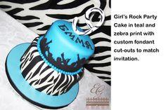 Cake -- Girl's Zebra print & Teal for Young Rocker http://www.sevenlittlemonkeys.com