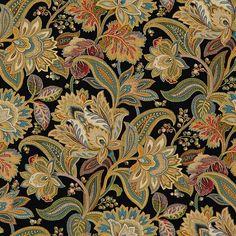Black Fabric for Interior Decorating and Design Accents Paisley Fabric, Gold Fabric, Floral Fabric, Fabric Art, Fabric Decor, Plaid Fabric, Art Chinois, Batik Art, Batik Prints