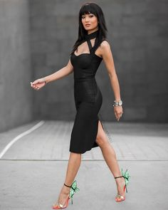 Butterfly Heels And L B D Fall Streetstyle women fashion outfit clothing stylish apparel closet ideas News Fashion, Look Fashion, Fashion Outfits, Womens Fashion, Moda Boho, Mannequins, Asian Woman, Sexy Dresses, Bandage Dresses