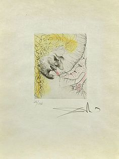 Salvador Dali, Man Kissing Shoe, Engraving on Paper, Limited Edition