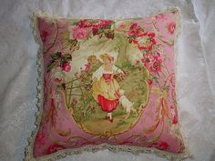 Country French Cottage Toile Pillow Pink, I have this fabric but yet to make anything with it, just loved it~