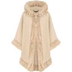 WearAll Fur Hooded Cape ($41) ❤ liked on Polyvore featuring outerwear, beige, wrap cape, cape coats, cape shawl, hooded cape and hooded cape coat