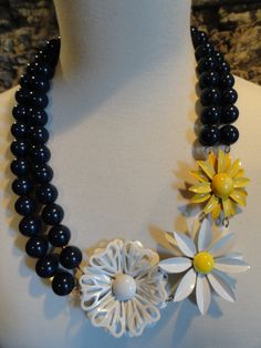 Repurposed vintage Monet navy blue lucite beads by BroochtheTopic, $69.00