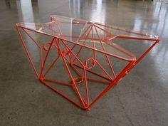 """Coat Hanger Table"" by Nick DeMarco – Coat Hanger Design Recycled Furniture, Diy Furniture, Diy Deco Rangement, Ceiling Paint Colors, Plastic Clothes Hangers, Hanger Crafts, Entry Way Design, Tool Sheds, Pallet Creations"