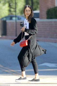 Essential! Jessica Alba looked laid back and casual as she started her day with a quick coffee run