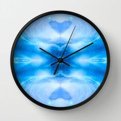Blue heart love reflection Wall Clock by Laureenr