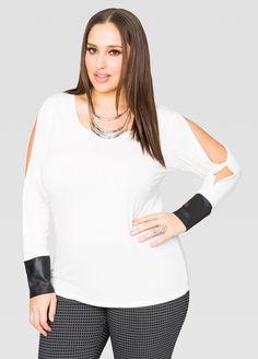 Split Sleeve Leather Cuff Top - Ashley Stewart