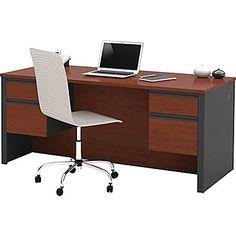 Bestar Prestige+ Double Pedestal Desk. Bordeaux Cherry/Graphite