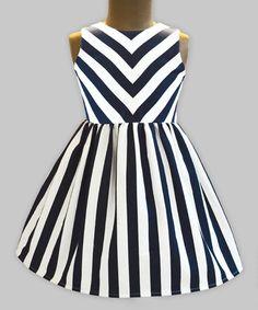Look what I found on #zulily! Navy & White Stripe Shanaya Dress - Infant, Toddler & Girls #zulilyfinds