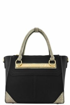 Croc Trim Designer Two Tone Top Handle Bag