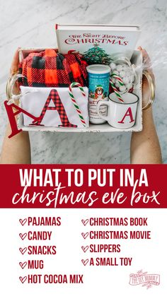 Learn how to make a personalized Christmas Eve box, what goes in a Christmas Eve box, and why you should do it Diy Gifts For Christmas, Personalised Christmas Eve Box, Christmas Gift Baskets, Christmas Books, All Things Christmas, Christmas Time, Christmas Eve Box Ideas Kids, Christmas Eve Crate, Christmas Wish List