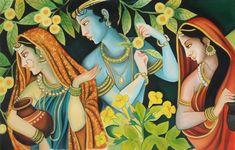 Krishna Radha Gopi Painting Indian Hindu Deity Hand Painted Oil Canvas Decor Art