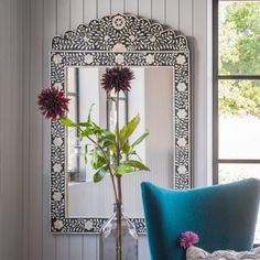 Zagora Black Bone Inlay Mirror - View All Mirrors - Mirrors - Lighting & Mirrors Bohemian Living, Bohemian Decor, Mother Of Pearl Mirror, Mirror Shop, Under Stairs, Black Mirror, Mirror With Lights, Beautiful Bedrooms, Cozy House