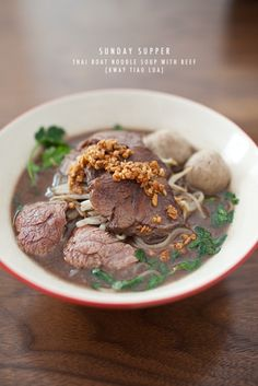 Thai Boat Noodle Soup with Beef Goat Recipes, Asian Recipes, Cooking Recipes, Boat Noodle, Noodle Noodle, Thai Food Menu, Thai Noodle Soups, Authentic Thai Food, Thai Street Food