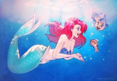 "inanna-nakano: ""A silly little crossover fanart idea that I had. Looks like Ariel found Nemo before anyone else did! Done in pencil and Photoshop. """