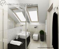 Projekt łazienki Inventive Interiors - miska wc pod skosem w jasnej łazience z czarnymi dodatkami