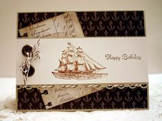 """""""All supplies are Stampin' Up: The Open Sea stamp set in Suede ink with Nautical Expedition paper on a Sahara Sand base. Espresso baker's twine and jumbo eyelets. Sentiment is from Create a Cupcake."""" I like the colors and nautical theme. Masculine Birthday Cards, Masculine Cards, Scrapbooking, Scrapbook Cards, Nautical Cards, Nautical Theme, Boy Cards, Men's Cards, Stampinup"""