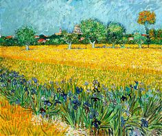 Vincent van Gogh View of Arles with Irises in the Foreground painting, oil on canvas & frame; Vincent van Gogh View of Arles with Irises in the Foreground is shipped worldwide, 60 days money back guarantee. Art Van, Van Gogh Art, Claude Monet, Vincent Van Gogh, Van Gogh Museum, Art Museum, Van Gogh Prints, Art Prints, Canvas Prints