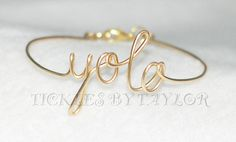 """Handmade YOLO """"You Only Live Once"""" Wire Script Bangle Vintage DIY Jewelry Women Baby Bracelet Gold or Silver  Custom Orders Accepted on Etsy, $12.00 Personalized Jewelry, Custom Jewelry, Diy Jewelry, Jewelry Bracelets, Handmade Jewelry, Women Jewelry, Bangles, Unique Jewelry, Handmade Gifts"""
