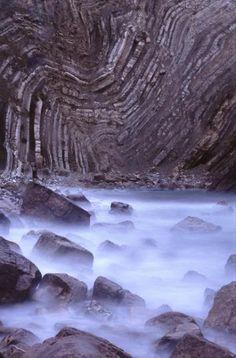 Folded rocks on the coast of Dorset, England