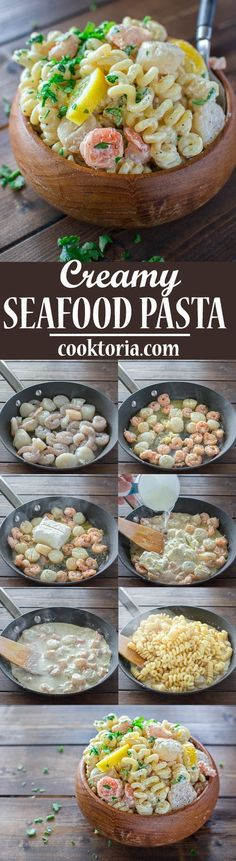 This Creamy Seafood Pasta is so easy to make and it makes a comforting and filling dinner. You can have it ready in just 30 minutes! ❤ COOKTORIA.COM