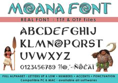 Moana font ttf otf files available on all softwares instant Simple First Birthday, Girl 2nd Birthday, Summer Birthday, Moana Font Free, Moana Printables, Photoshop, Moana Theme Birthday, Moana Coloring, Girl Birthday Decorations