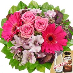 Flower Bouquet Ambiente with vase & Lindt Chocolate Almonds