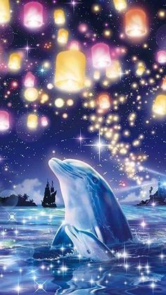 🐬Dauphins 📱 Fond d'écran cellulaire no 20 🐬 Ocean Wallpaper, Galaxy Wallpaper, Cute Wallpaper Backgrounds, Pretty Wallpapers, Dolphin Painting, Dolphin Art, Beautiful Nature Wallpaper, Beautiful Landscapes, Fantasy Landscape