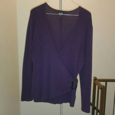 Purple sweater blouse v-neck XL Worn only once Buckle on the side Apt. 9 Tops Blouses