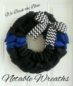 Thin blue line wreath back the blue wreath police wreath law enforcement wreath…