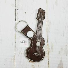 Ukulele Guitar Snap Tab Key Fob ITH Embroidery Design File