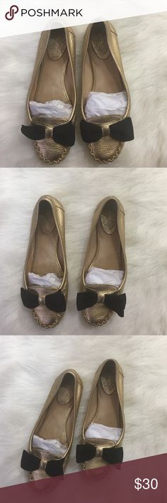 Kate Spade Sassy bow ballerina moccasins Adorable gold leather with a chic black bow. Preloved but so much wear left! Please see photos for close up detail. Firm on price! No trades. I ship the same or next day. ❤ kate spade Shoes Flats & Loafers