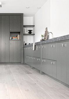 Pickled floors with dark grey