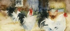 KO.54 french farmyard - giclee print from original watercolour Tile Murals, Tile Art, Kate Osborne, Chickens And Roosters, Garden Painting, Watercolor Bird, Farm Yard, Giclee Print, Chicken Shack