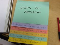 Factoring foldable. I love doing with with my students. They use it and keep it for their entire high school career!