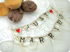 Just Married Wedding Cake Topper Banner. $24.00 <3 from http://www.etsy.com/listing/103989658/just-married-wedding-cake-topper-banner?category=weddings.decor.cake-toppers