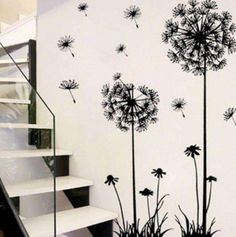 Hot black dandelion living room bedroom wall stickers home adornment wall stickers on the wall Flower Wall Stickers, Wall Stickers Home Decor, Bedroom Wall Stickers, Removable Wall Stickers, Stickers Design, Tree Wall Decor, Art Decor, Metal Tree Wall Art, Decoration Design