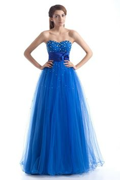 Net Sweetheart Floor Length A-line Embroidered Prom Dress - WooVow
