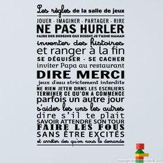 Sticker Les règles de la salle de jeux – Stickers Citations Français - Ambiance-sticker