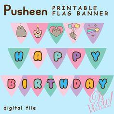 Tsum Tsum Flag Banner Digital File by OhWowDesign on Etsy Pusheen Birthday, Cat Birthday, Kitten Party, Cat Party, 10th Birthday Parties, Birthday Party Themes, Birthday Ideas, Diy Birthday Banner, Birthday Invitations