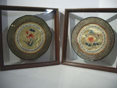 Chinese Silk Embroidered Circles Butterfy Flowers Shadowbox Frame Vintage