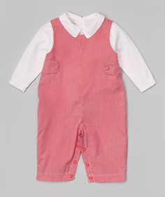 Look what I found on #zulily! Red Gingham Overalls & White Button-Up - Infant #zulilyfinds