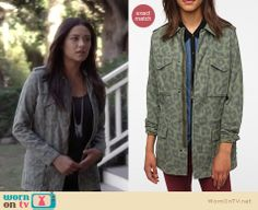 Emily's green leopard print cargo jacket and long silver chain tassle necklace on Pretty Little Liars.  Outfit details: http://wornontv.net/12565/