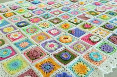 Spring Flower Blanket - she is posting photos of each square and the colors used.