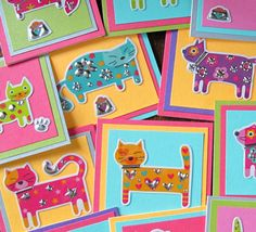 Cat Mini Cards set of 5 colorful textured by SandrasCardShop, $6.00