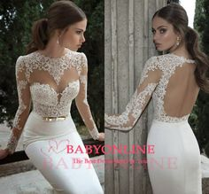 Find More Wedding Dresses Information about Vestidos de Novia 2014 New Arrival Sexy Backless Bridal Gowns Sheer Long Sleeve Lace Mermaid Wedding Dress,High Quality gown pink,China dress evening gowns Suppliers, Cheap dresses peach from 27 Dress on Aliexpress.com
